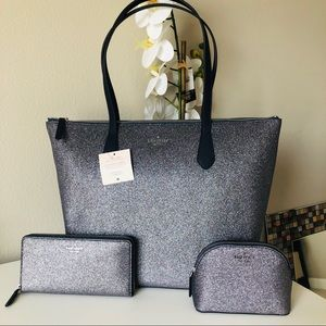 Kate Spade Joeley Dusk navy glitter 3pc set NWT